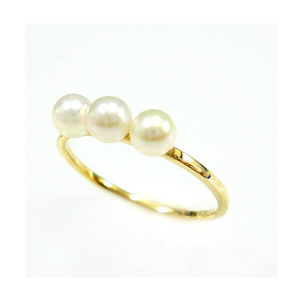 パール 真珠 リング 指輪 細身 華奢 淡水真珠 K18 ゴールド PG WG