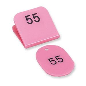 共栄プラスチック 親子番号札51~100(1組) 角型 桃 CT-3-51-P