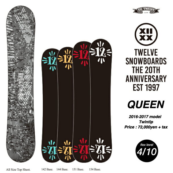 【入荷!】TWELVE 12snowboards QUEEN twintip camber 20周年記念 2017モデル
