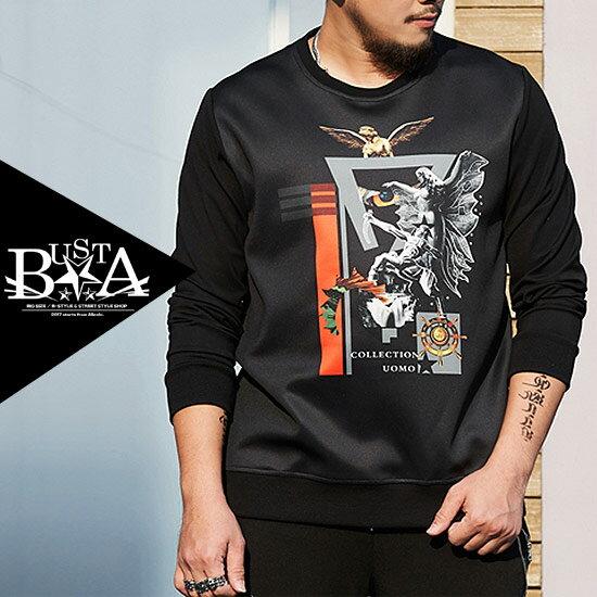 ロングTシャツ メンズ 大きいサイズ 長袖 Tシャツ メンズファッション アンティーク イラスト プリント B系 ストリート系ファッション ヒップホップ ネイビー ビッグサイズ ビックサイズ キングサイズ バスター ぽっちゃり 西海岸 韓国