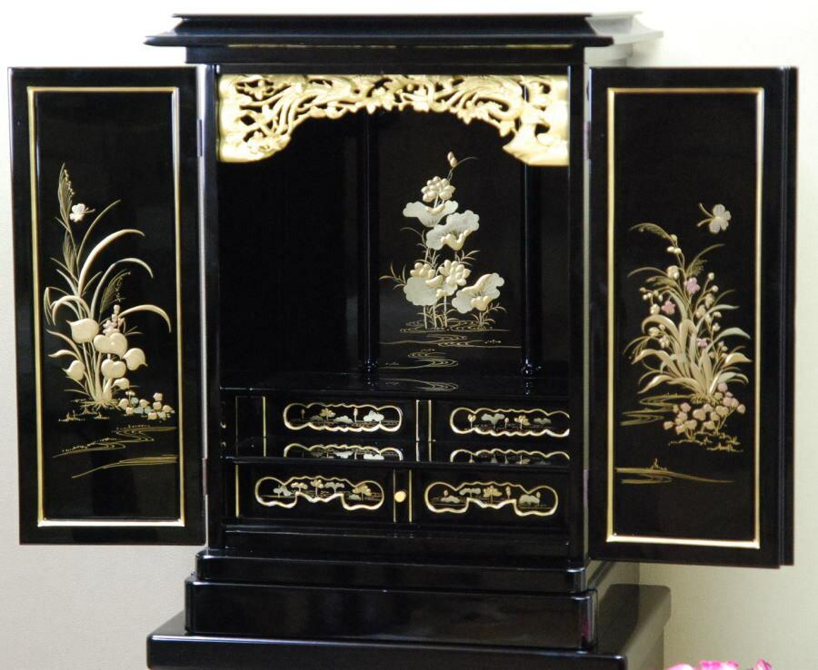 仏壇 黒塗り 太陽-花の舞-21号(絵柄3)