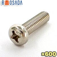 BS (真鍮、黄銅)(+)なべ小ねじM6X14ニッケルメッキ【600本入り】