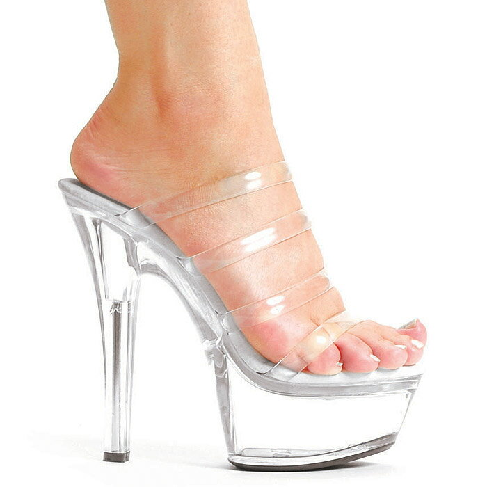送料無料 Ellie Shoes エリーシューズ/4連クリア甲ストラップ付き/プラットフォームミュール/クリア素材/ヒール高約14.5cm(品番601-CRYSTAL-CLR)
