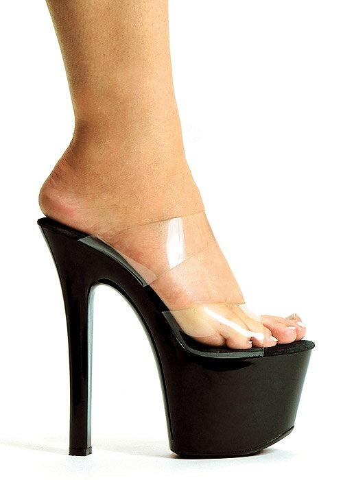 送料無料 Ellie Shoes エリーシューズ/ダブルストラップ付き/プラットフォームミュール/クリア素材/ヒール高約16.5cm(品番711-COCO-CLR-BLK)