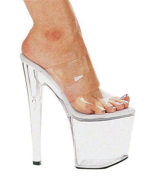 送料無料 Ellie Shoes エリーシューズ/ダブルストラップ付き/プラットフォームミュール/クリア素材/ヒール高約19cm(品番821-COCO-CLR)