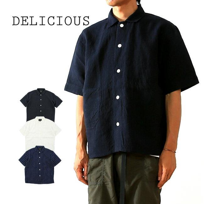 デリシャス  DELICIOUS リネンオーバーシャツ メンズ 【送料無料】 ストライプ リネン 日本製 半袖 男性