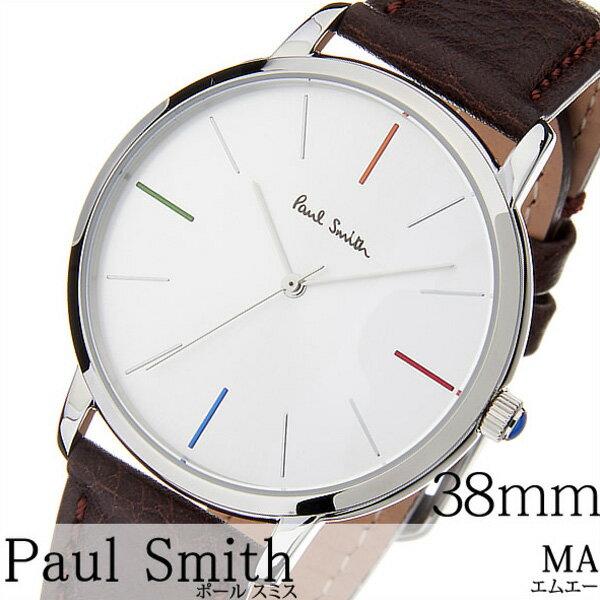 ポールスミス腕時計 paul smith時計 paulsmith 腕時計 ポールスミス 時計 エムエー リトル MA LITTLE 38MM メンズ/レディース/シルバー P10100 [新作/人気/高級/トレンド/ブランド/オシャレ/シンプル/イギリス/ギフト/プレゼント/レザー][新生活]