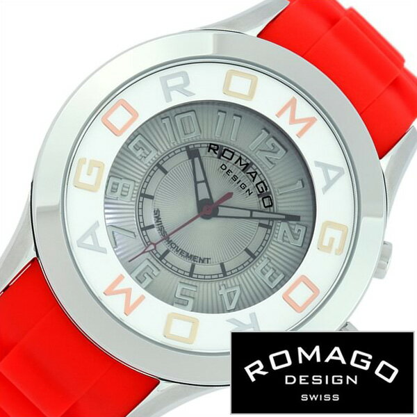 ロマゴデザイン腕時計 ROMAGODESIGN時計 ROMAGO DESIGN 腕時計 ロマゴ デザイン 時計 アトラクション ATTRACTION メンズ/レディース/グレー RM015-0162PL-RDSV [正規品/新作/人気/流行/ブランド/防水/ユニーク/シリコン/レッド/シルバー][おしゃれ 腕時計][新生活 社会人]