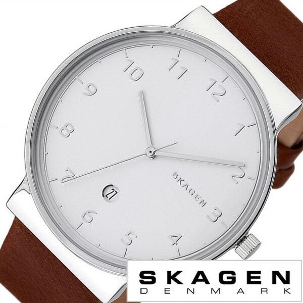 スカーゲン腕時計 SKAGEN 時計 SKAGEN 腕時計 スカーゲン 時計 アンカー ANCHER メンズ/ホワイト SKW6292 [新作/人気/流行/ブランド/防水/薄型/革/レザー ベルト/ブラウン/シンプル/北欧][おしゃれ 腕時計][新生活 入学 卒業 社会人]