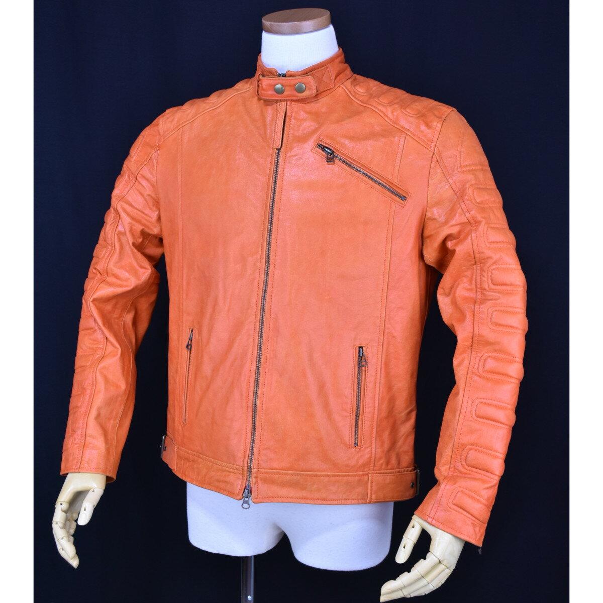シングルライダースジャケットオレンジ