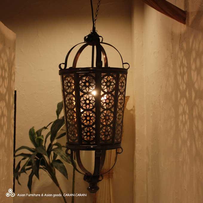 【送料無料】ペンダントライト 天井照明 北欧 アンティーク風 ガラスとアイアンのライト 大きいサイズ | アジアン 照明 ライト ランプ