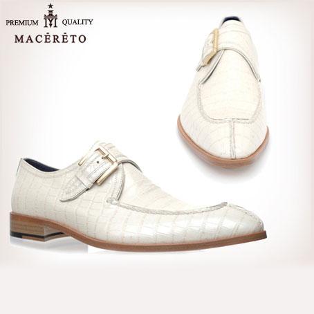ビジネスシューズ 革底 革靴 モンクストラップ ホワイト ビジネスシューズ シングルモンク Macereto