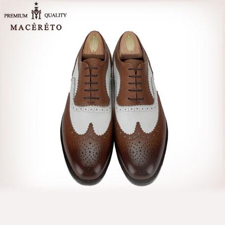 ビジネスシューズ 革底 革靴 ウイングチップ ホワイト+レッドブラウン ビジネスシューズ 内羽根 Macereto(おしゃれ 革 くつ 靴 シューズ 男性靴 レザーソール 皮靴 本皮 紳士 男性用 メンズシューズ 紳士靴 メンズ ビジネス レザー 本革 就職祝い 入学祝い)