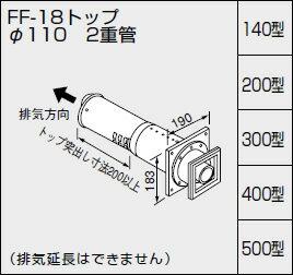 【全品送料無料】【0706813】ノーリツ 給湯器 関連部材 給排気トップ(2重管方式及び2本管方式) FF-18トップ φ110 2重管 300型【RCP】【セルフリノベーション】