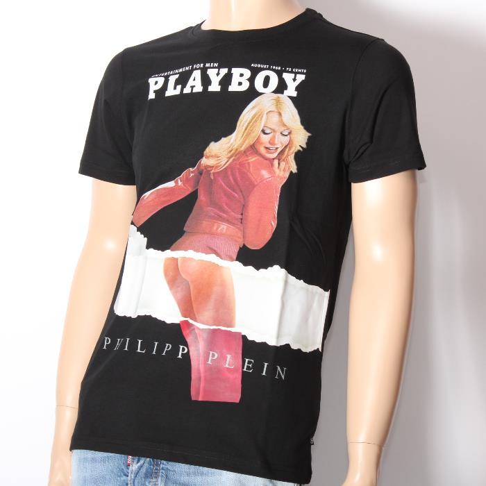 【期間限定】PHILIPP PLEIN フィリッププレイン 半袖Tシャツ HM347441 BLACK ブラック PLAYBOY プレイボーイ コラボ ダブルネーム メンズ 【新品・未使用・正規品】