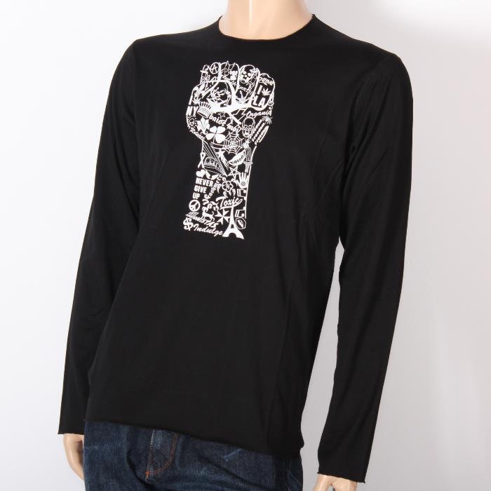 【売れ筋】LUCIEN PELLAT-FINET ルシアンペラフィネ 長袖Tシャツ ブラック EVH1768 BLACK スカル ヘンプ ピース ロンT メンズ 【新品・未使用・正規品】売れ筋