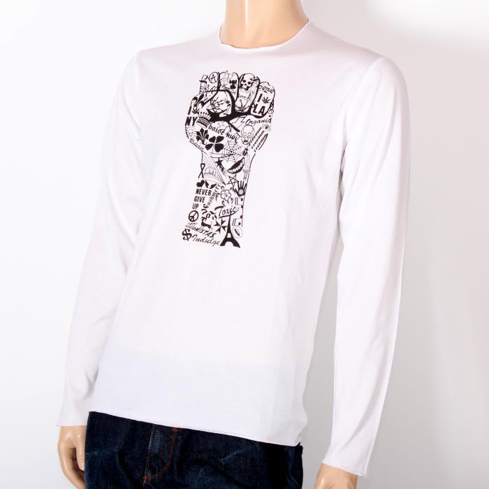 【売れ筋】LUCIEN PELLAT-FINET ルシアンペラフィネ 長袖Tシャツ ホワイト EVH1768 WHITE スカル ヘンプ ピース ロンT メンズ 【新品・未使用・正規品】売れ筋