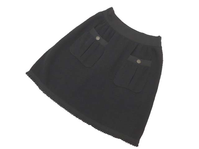 CHANEL ニットスカート ブラック 42 A1美品 【中古】