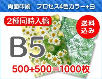 B5クリアファイル印刷500枚+500枚=1000枚