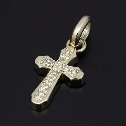 SYMPATHY OF SOUL Smooth Cross Pendant - K10 Yellow Gold w/Diamond