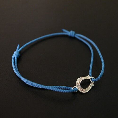 SYMPATHY OF SOUL Horseshoe Amulet Cord Bracelet - Silver w/CZ