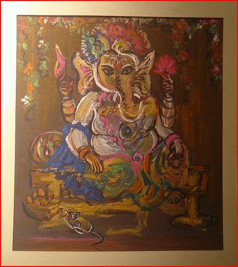 ◆【スピリチュアルアート】29.5cm×24cmベージュ枠/ゴージャス/堂々と自身に満ち溢れているエネルギーを取り入れたい方に インド ガネーシャ スピリチュアル 絵画 アート ペイント アジアン