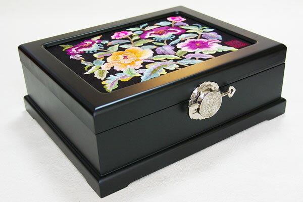 韓国結納箱・手刺繍宝石箱牡丹■jewelrybox-14-s【ギフト】