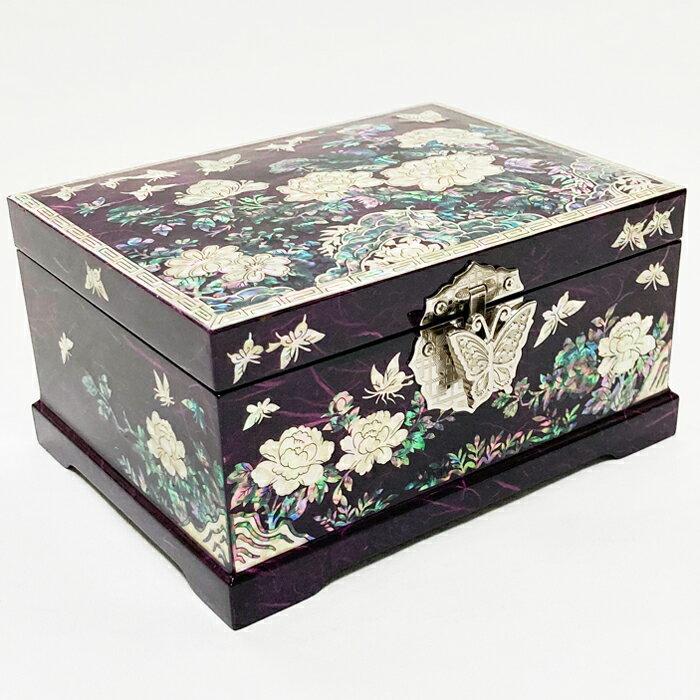 螺鈿の高級ジュエリーボックス・高級螺鈿宝石箱-赤花蝶■jewelrybox-16-s【ギフト】
