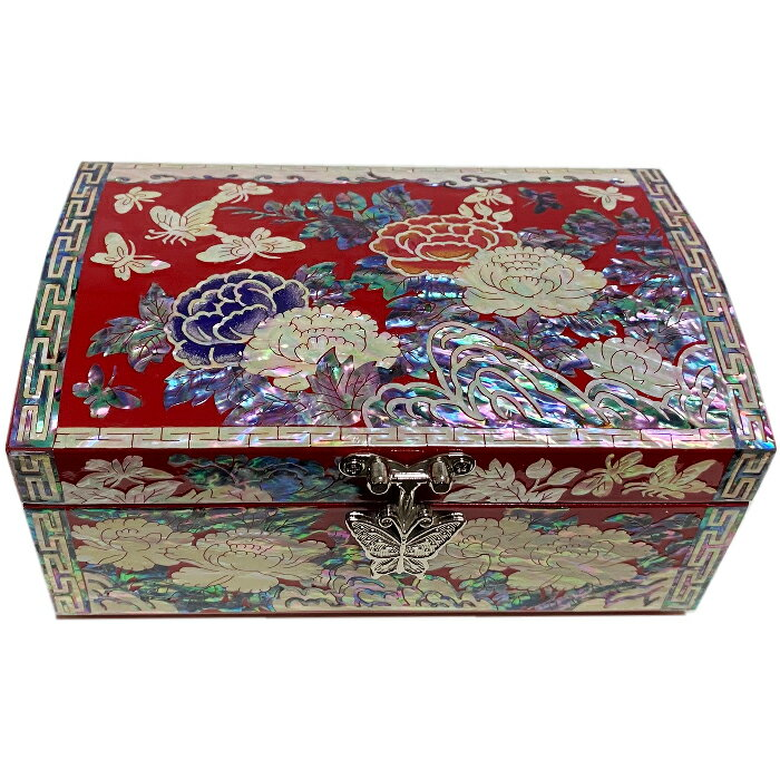 螺鈿の高級ジュエリーボックス・高級螺鈿宝石箱-波花蝶■jewelrybox-17-s【ギフト】