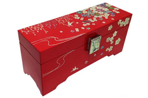 韓国螺鈿花模様宝石箱柳と鳥■jewelrybox-drjb222-s【ギフト】