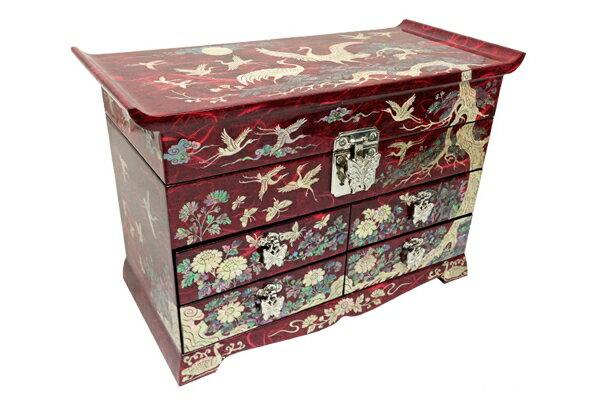 韓国螺鈿十長生引出宝石箱(赤)■jewelrybox-drjb227-s【ギフト】