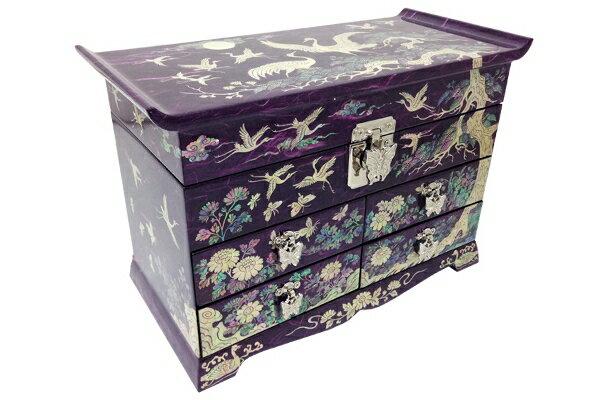 韓国螺鈿十長生引出宝石箱(紫)■jewelrybox-drjb228-s【ギフト】