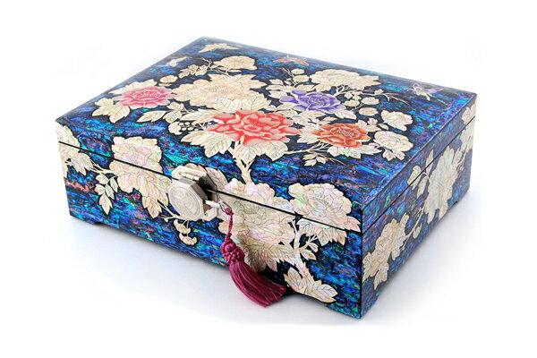 韓国螺鈿打抜き宝石箱牡丹と蝶(特大)■jewelrybox-drjb320-s【ギフト】