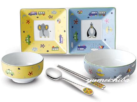 韓国子供用食器セット6ピース  ズー■kids-shokki-3-s【ギフト】【100日1才用品】