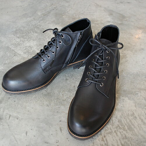 PADRONE パドローネ メンズ  メンズ CHUKKA BOOTS with SIDE ZIP (WATER PROOF LEATHER) / BAGGIO バッジオ ブラック BLACK PU7358-1222-16A 革靴