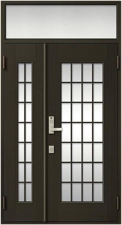 玄関ドア クリエラR ランマ付き 親子ドア 14型 内付型 鎌付箱錠仕様 特注寸法 W:912~1,240mm H:1,886~2,514mm リクシル LIXIL