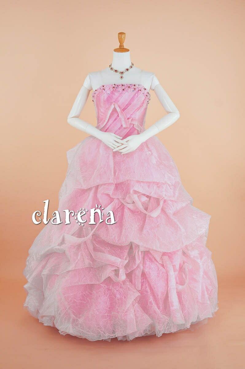 [送料無料] ステージ衣装ピンクにリボン・ビーズ・シワ加工 ロングドレス 9-13号(CLC3715)(USED品)(リサイクル)【中古】