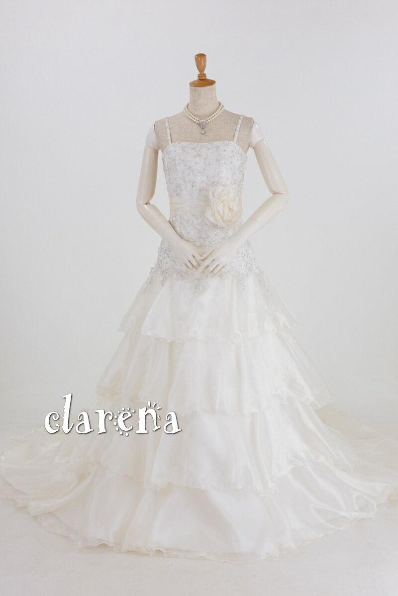 【送料無料】シャンパンホワイトに美しいバラ装飾ウェディングドレス7号(CLW933)(USED品)(リサイクル)【中古】