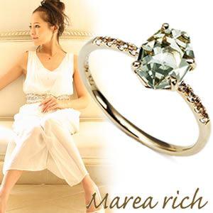 【送料無料】 マレア リッチ Marea rich K10 リング ゴールド×グリーンアメジスト/ホワイトサファイア 10号 12KJ-21