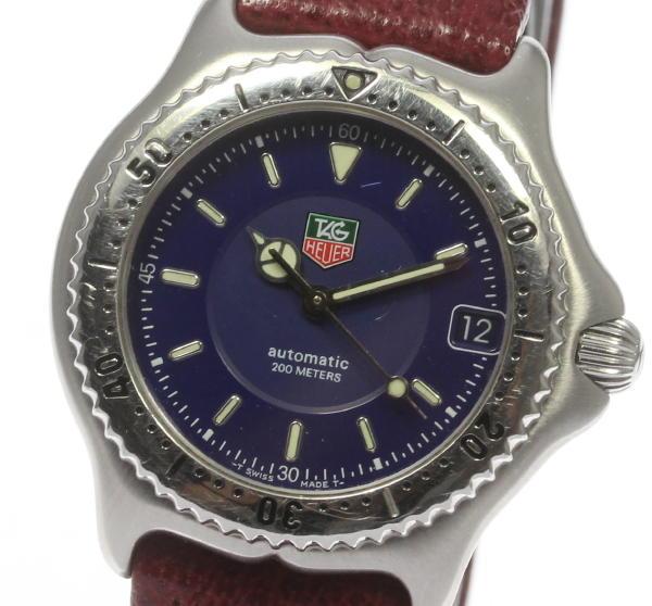 タグホイヤー セル WI2211 ネイビー デイト SS/革ベルト AT  ボーイズ腕時計◆【中古】