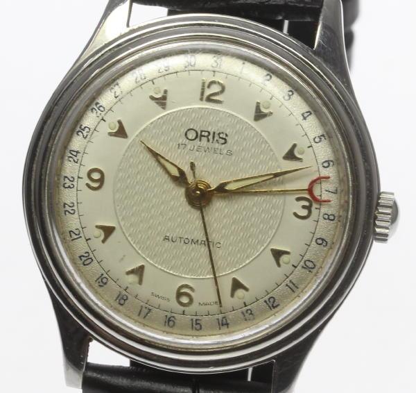 【ORIS】オリス 7403-40B ポインターデイト 自動巻き 社外革ベルト 裏スケ ボーイズ【中古】【170810】