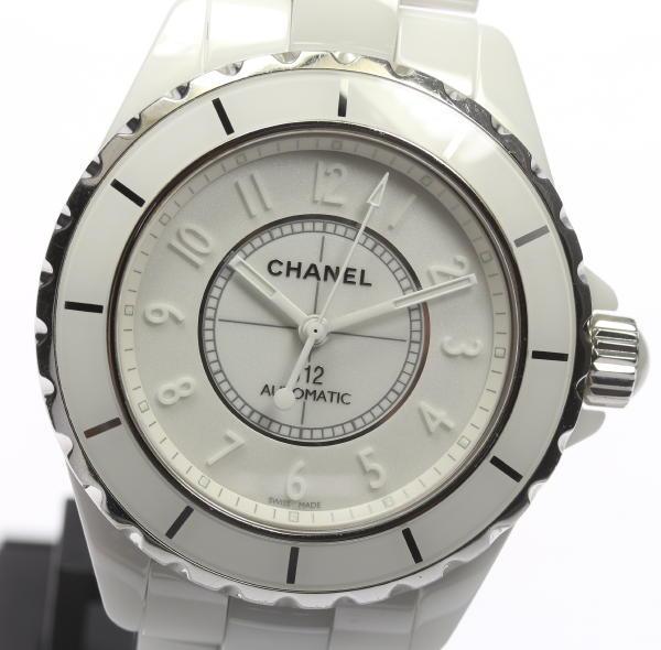 【CHANEL】シャネル J12 ホワイトファントム H3443 38 自動巻き メンズ【中古】【170810】