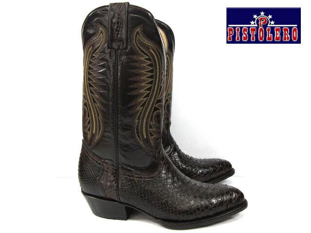 ピストレロ PISTOLERO 2114western boots / cow boydark brown python lether ウエスタンブーツダークブラウン レザー パイソン 本革カウボーイブーツ ヘビ柄 【送料無料】
