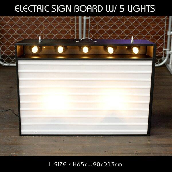 エレクトリックサインボード w/ライト Lサイズ(ブラック)高さ65×幅90cm 【メニューボード、店舗看板、カフェインテリア、アメリカン雑貨】