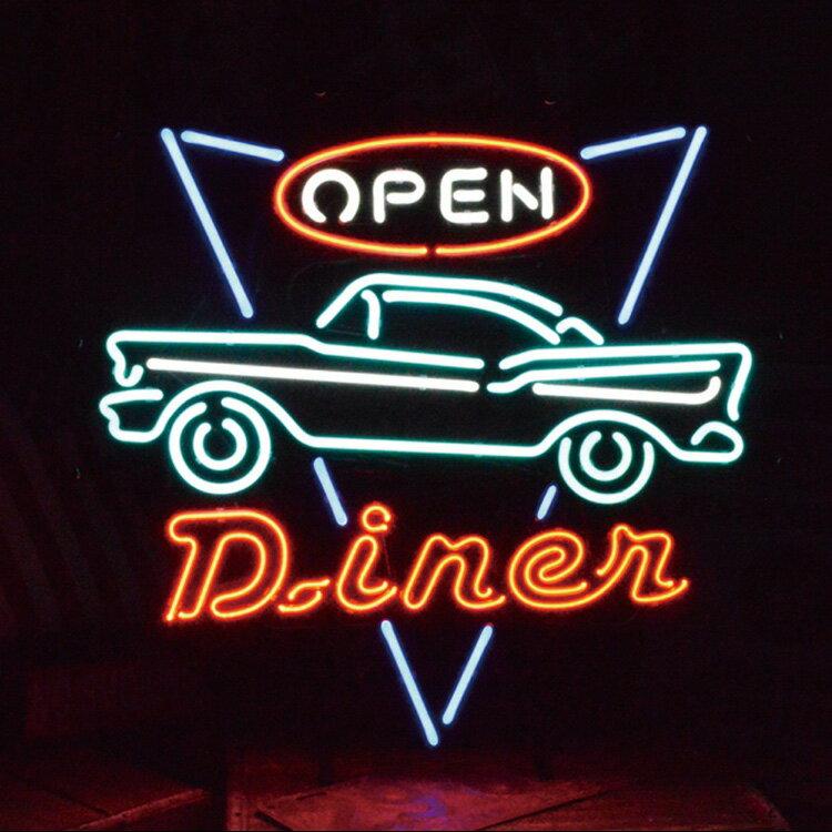 アメリカンネオンサイン <DINER OPEN ダイナー オープン>サイズ:55×60cm ネオン管 ガレージング  アメリカ雑貨 アメリカン雑貨