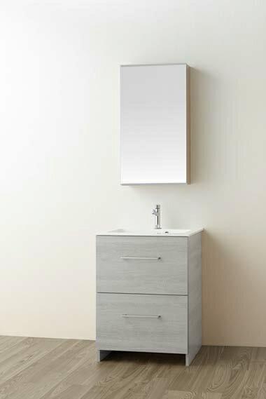###三栄水栓【WF019S2-600-PG-T4】(木目グレー) 洗面化粧台 (鏡付) WAILEA