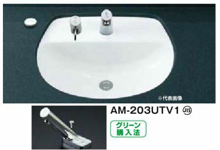 INAX 洗面器セット【L-2094FC】はめ込みだ円形洗面器(アンダーカウンター式) 手動・湯水切替スイッチ付自動水栓 AM-203UTV1 壁給水・壁排水(Pトラップ)