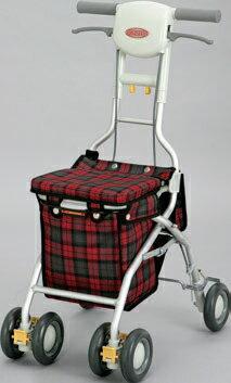 ###アロン化成 安寿【532-347】シルバーカー(歩行補助車) サンフィール (ショッピング) 赤チェック