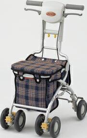 ###アロン化成 安寿【532-362】シルバーカー(歩行補助車) サンフィールS (ショッピング) 青チェック