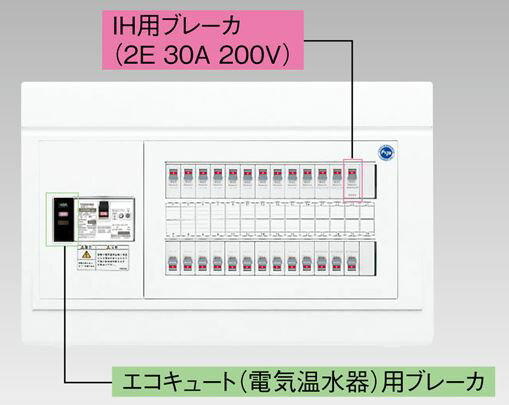 『カード対応OK!』●β東芝 電設資材【TFNPB3E7-182TB3B】扉なし・機能付 エコキュート(電気温水器)+IH用(主幹75A)